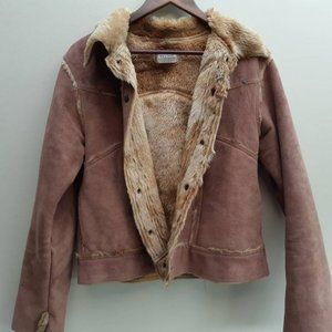 Brown faux suede sherpa jacket coat